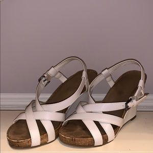 Faux leather and bamboo wedges